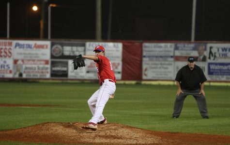 Brandon Sproat pitches in a game against Catholic.