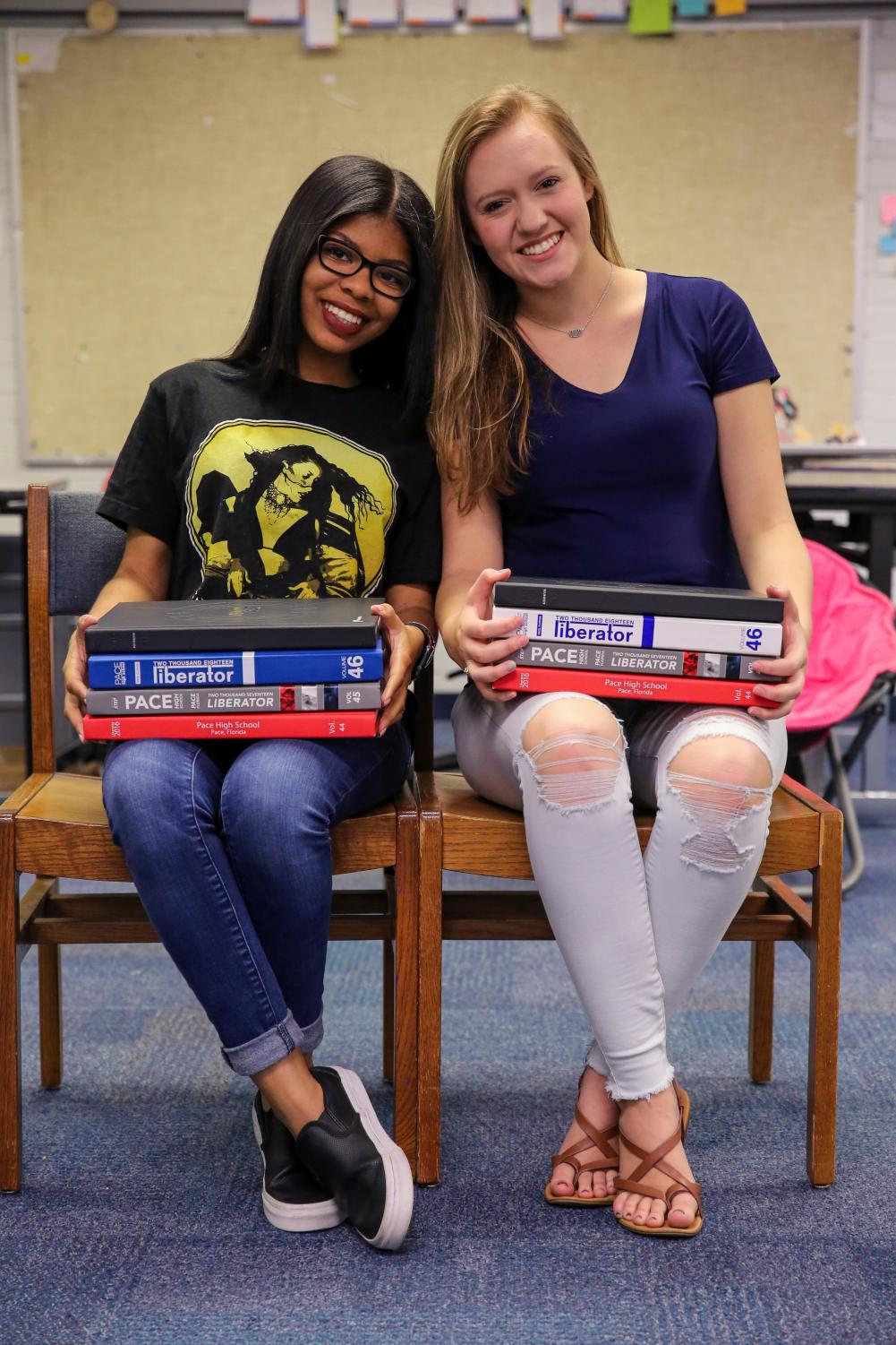Asha Waters and Hannah Zagar, editors in chief of the Patriot Pages for the 2018-2019 school year.