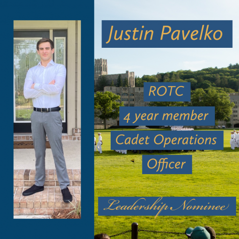 Justin Pavelko is one of the ROTC Leadership Nominees. Pavelko has been in ROTC 4 years, 2 at his previous school and his last 2 at Pace. Commander Vegeler said
