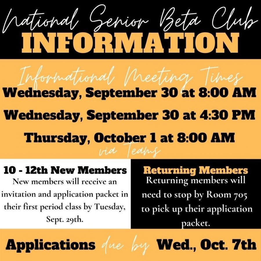 Beta Club: 10th - 12th grade Returning and New Members